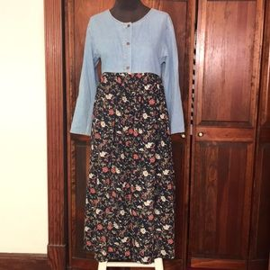 Express Vintage 90s Floral & Chambray Dress Size M